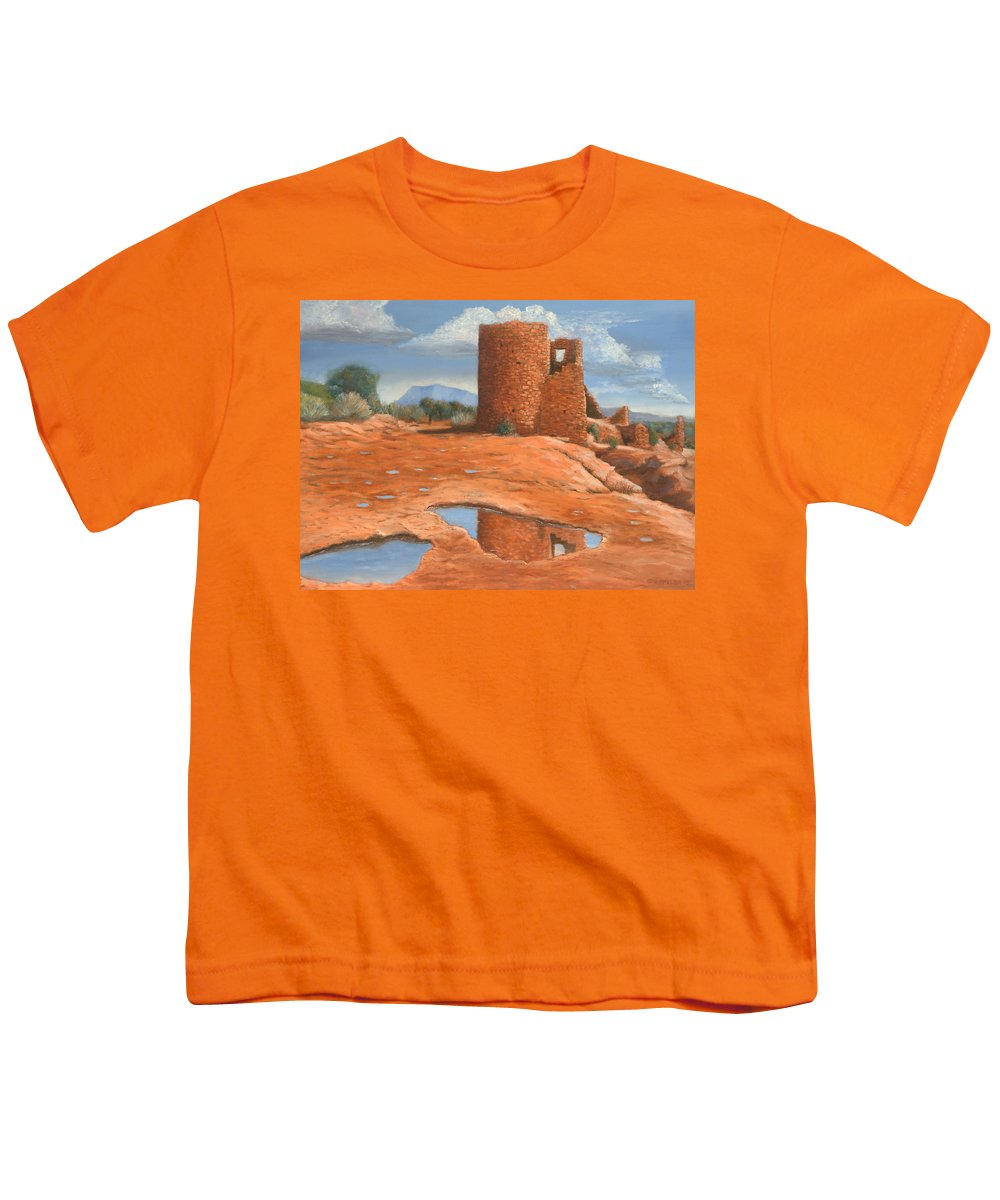 Anasazi Youth T-Shirt featuring the painting Hovenweep Reflection by Jerry McElroy