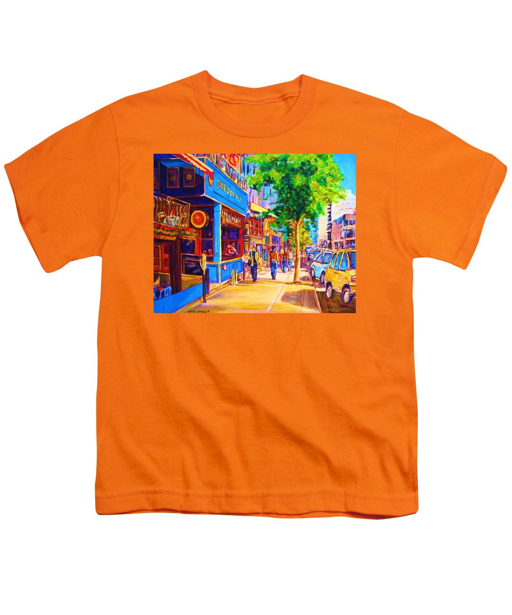 Irish Pub On Crescent Street Montreal Street Scenes Youth T-Shirt featuring the painting Irish Pub On Crescent Street by Carole Spandau