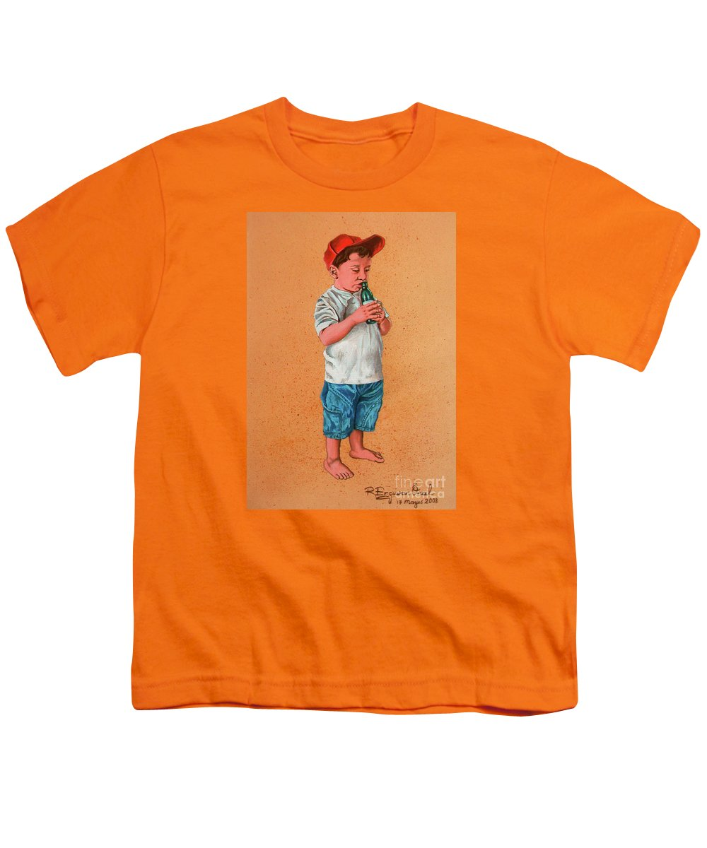 Summer Youth T-Shirt featuring the painting It's A Hot Day - Es Un Dia Caliente by Rezzan Erguvan-Onal