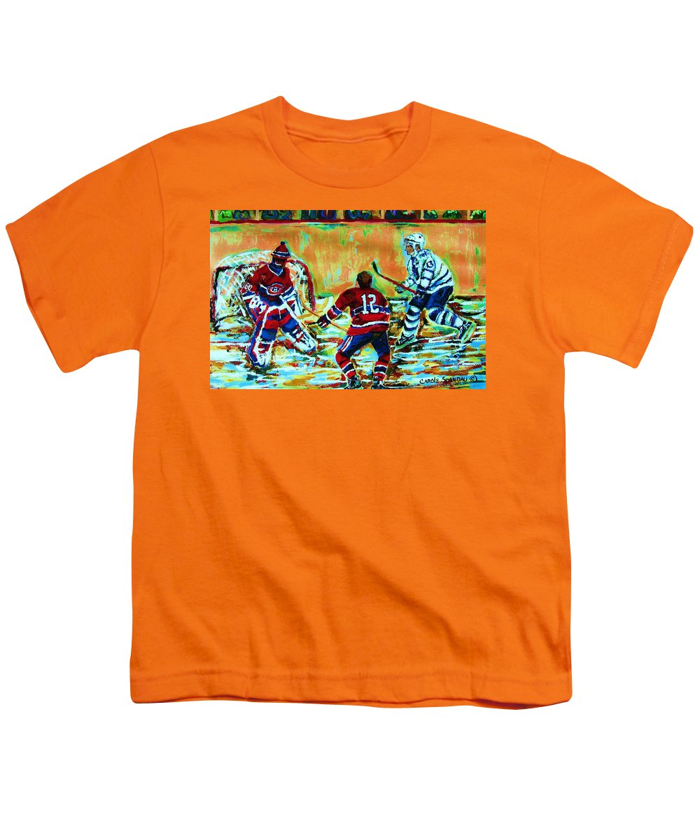 Hockey Canvas Prints Youth T-Shirt featuring the painting Jose Theodore The Goalkeeper by Carole Spandau