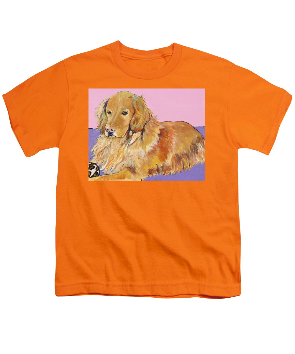 Golden Retriever Youth T-Shirt featuring the painting Maya by Pat Saunders-White