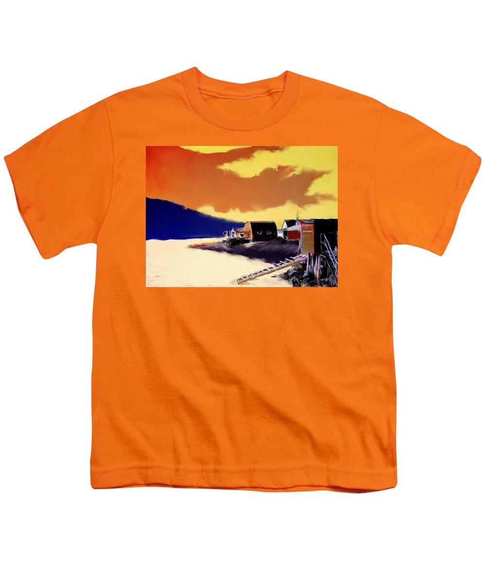 Newfoundland Youth T-Shirt featuring the photograph Newfoundland Fishing Shacks by Ian MacDonald