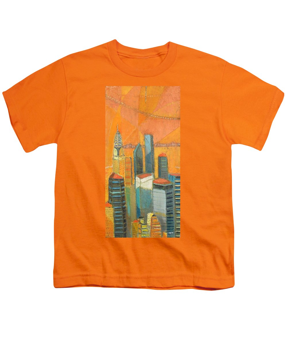 Youth T-Shirt featuring the painting Nyc In Orange by Habib Ayat