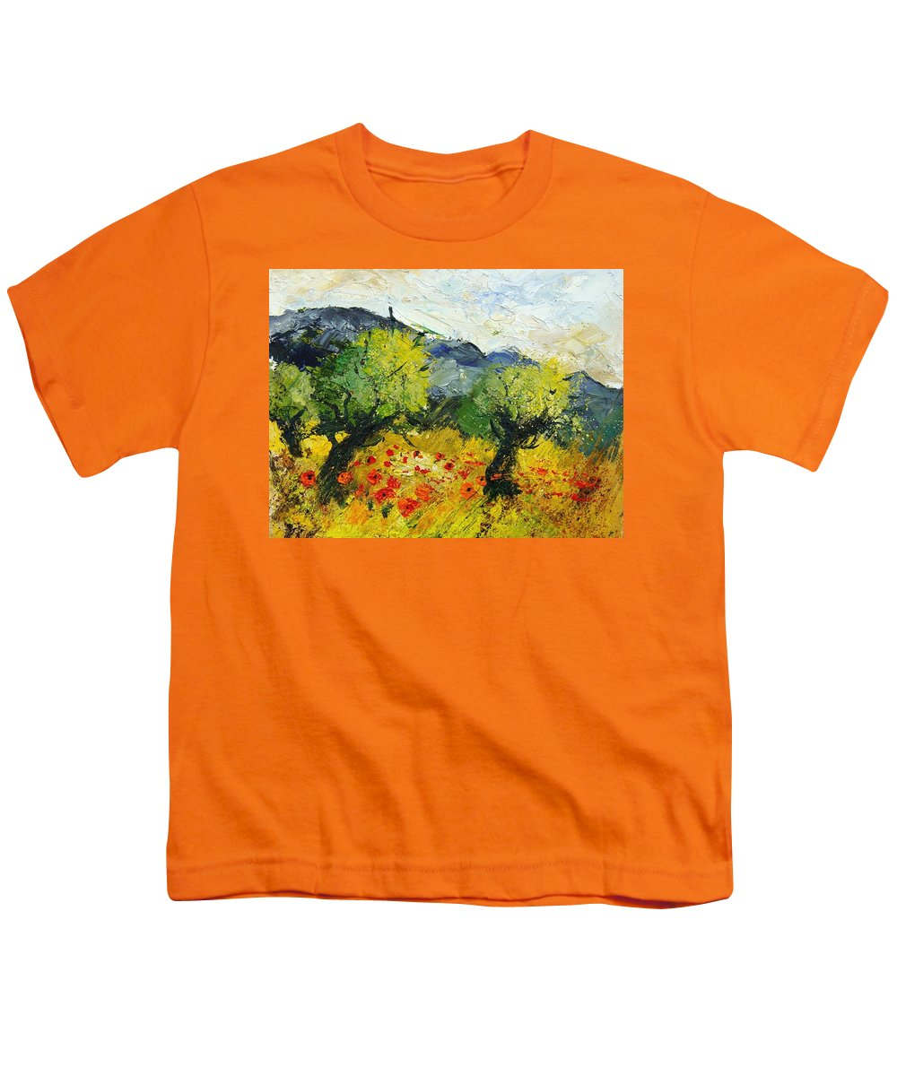 Flowers Youth T-Shirt featuring the painting Olive Trees And Poppies by Pol Ledent