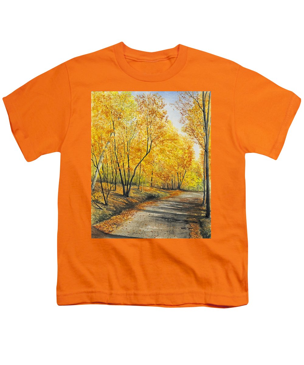 Autumn Youth T-Shirt featuring the painting On Golden Road by Mary Tuomi