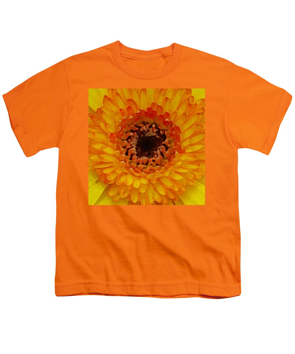 Daisy Youth T-Shirt featuring the painting Orange And Black Gerber Center by Amy Vangsgard