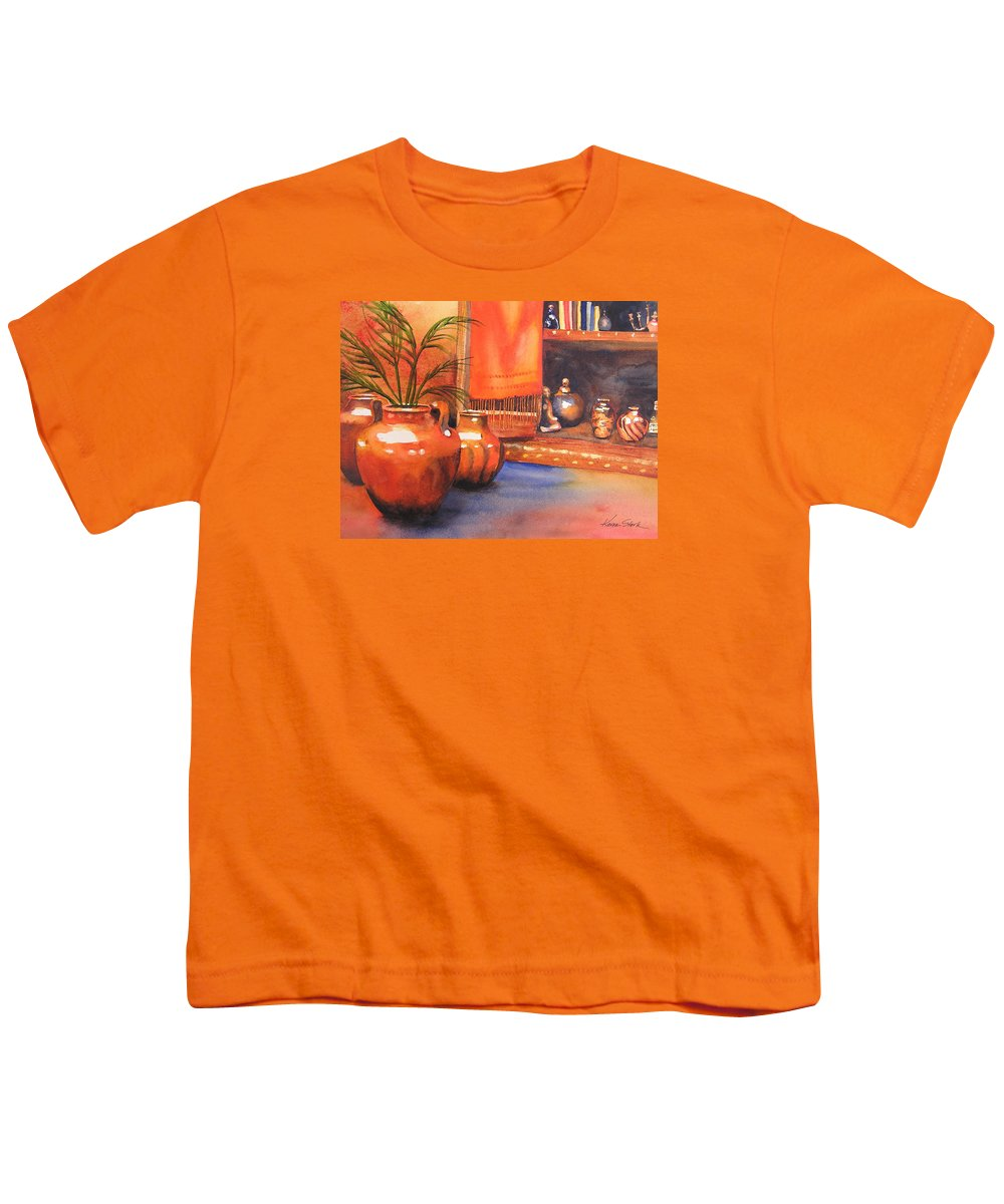 Pottery Youth T-Shirt featuring the painting Orange Scarf by Karen Stark