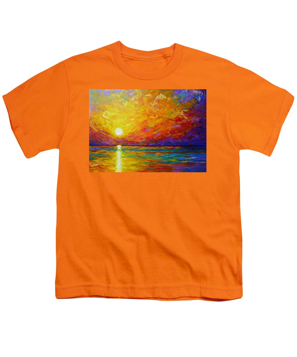 Landscape Youth T-Shirt featuring the painting Orange Sunset by Ericka Herazo