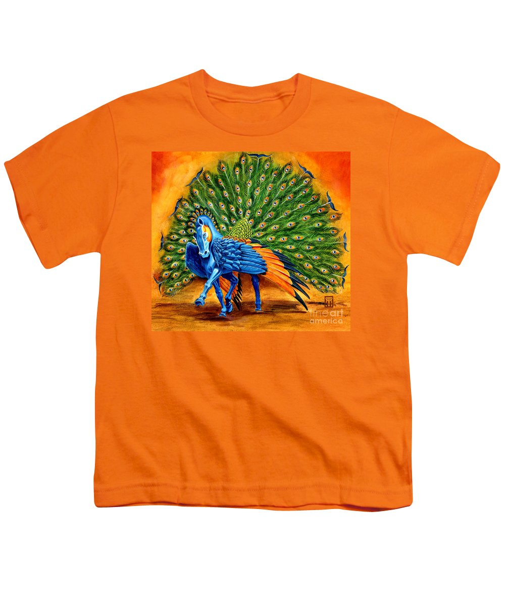Horse Youth T-Shirt featuring the painting Peacock Pegasus by Melissa A Benson