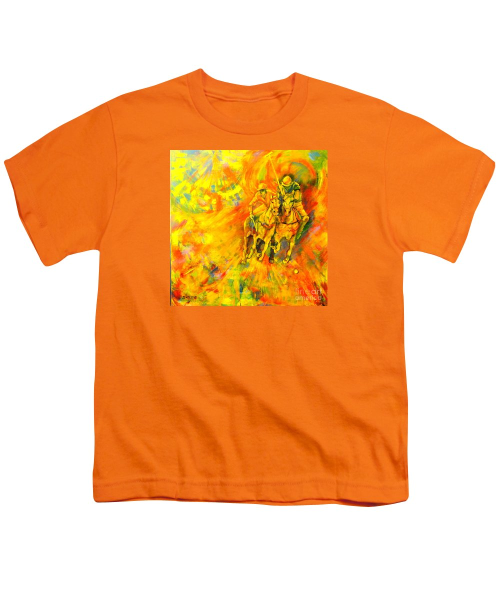Horses Youth T-Shirt featuring the painting Poloplayer by Dagmar Helbig