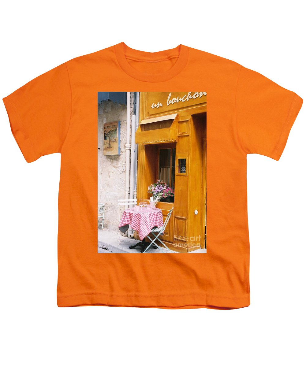 Cafe Youth T-Shirt featuring the photograph Provence Cafe by Nadine Rippelmeyer