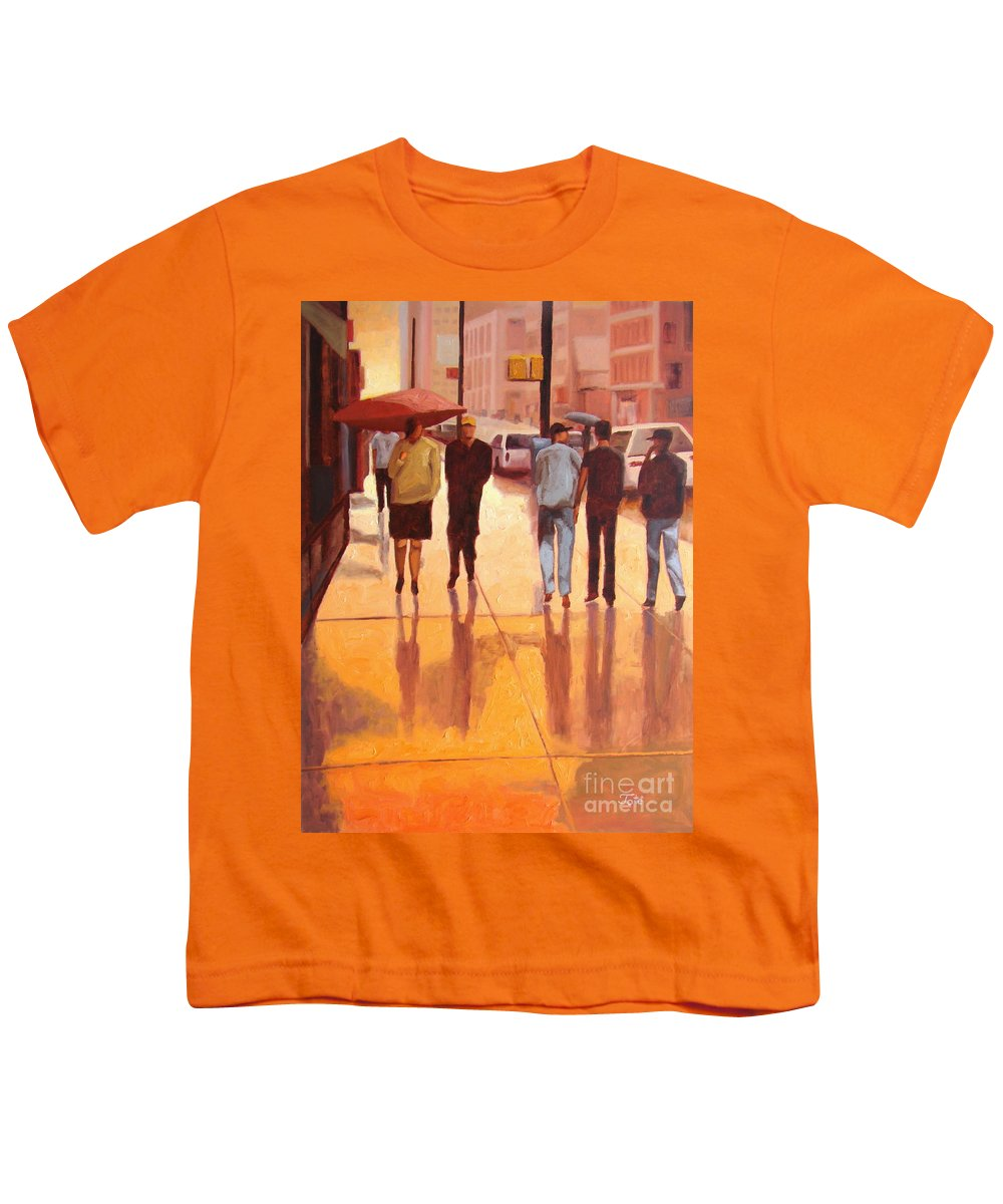 Manhattan Youth T-Shirt featuring the painting Rain In Manhattan Number Eighteen by Tate Hamilton