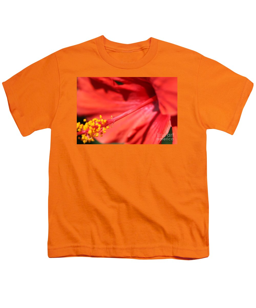 Red Youth T-Shirt featuring the photograph Red Hibiscus by Nadine Rippelmeyer