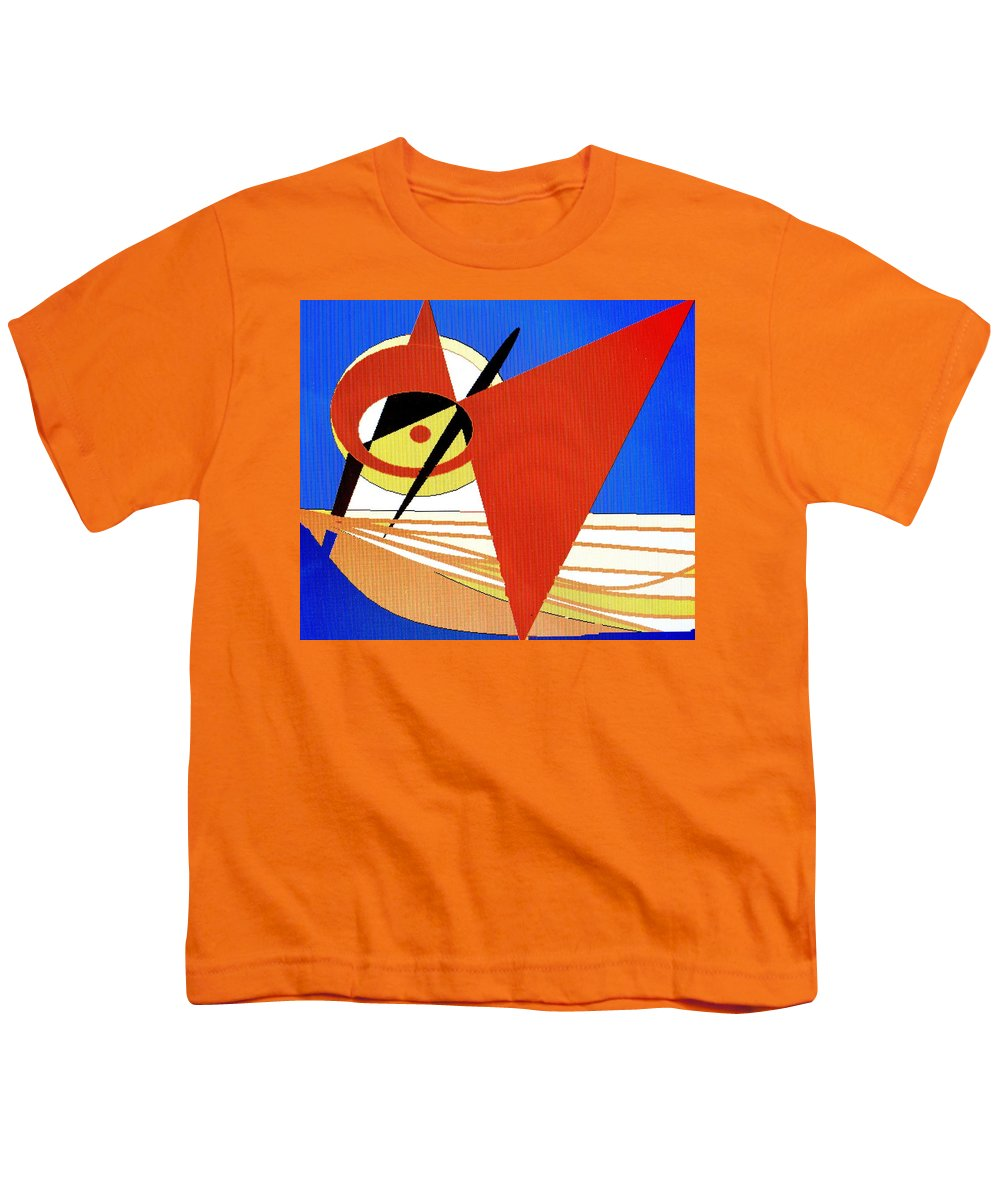 Boat Youth T-Shirt featuring the digital art Red Sails In The Sunset by Ian MacDonald