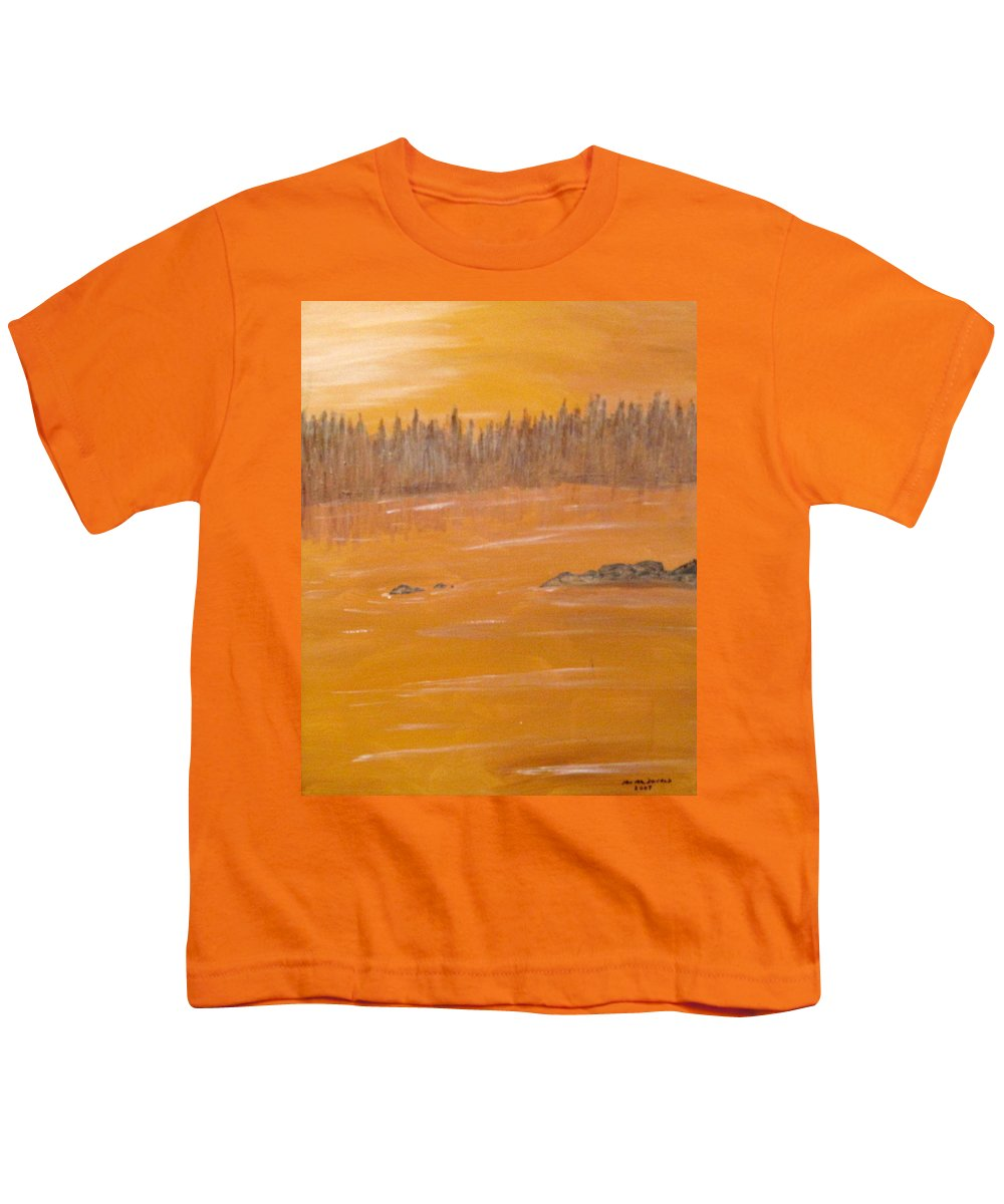 Northern Ontario Youth T-Shirt featuring the painting Rock Lake Morning 2 by Ian MacDonald