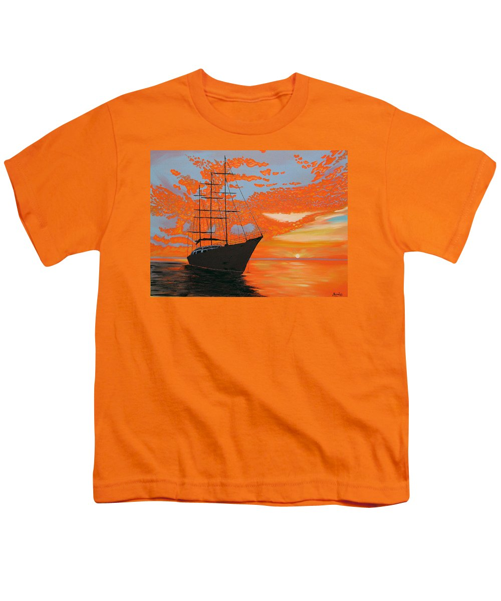Seascape Youth T-Shirt featuring the painting Sittin' On The Bay by Marco Morales