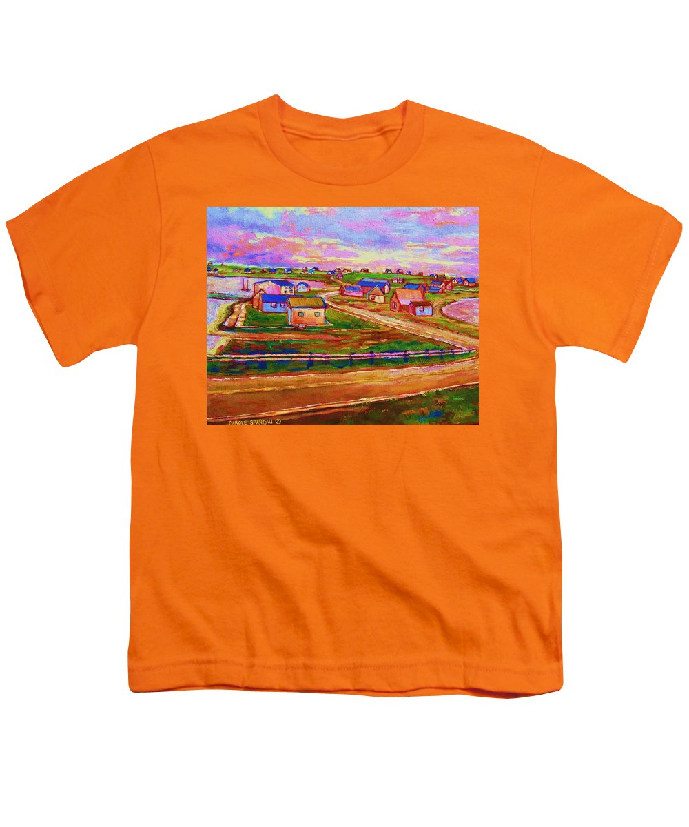Sunrise Youth T-Shirt featuring the painting Sleepy Little Village by Carole Spandau