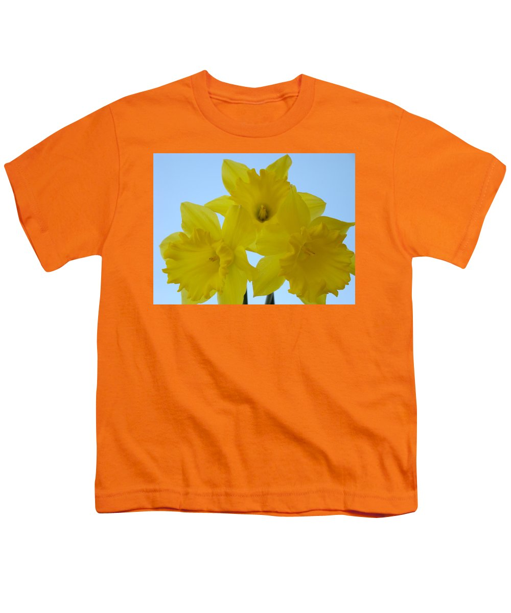 �daffodils Artwork� Youth T-Shirt featuring the photograph Spring Daffodils 2 Flowers Art Prints Gifts Blue Sky by Baslee Troutman