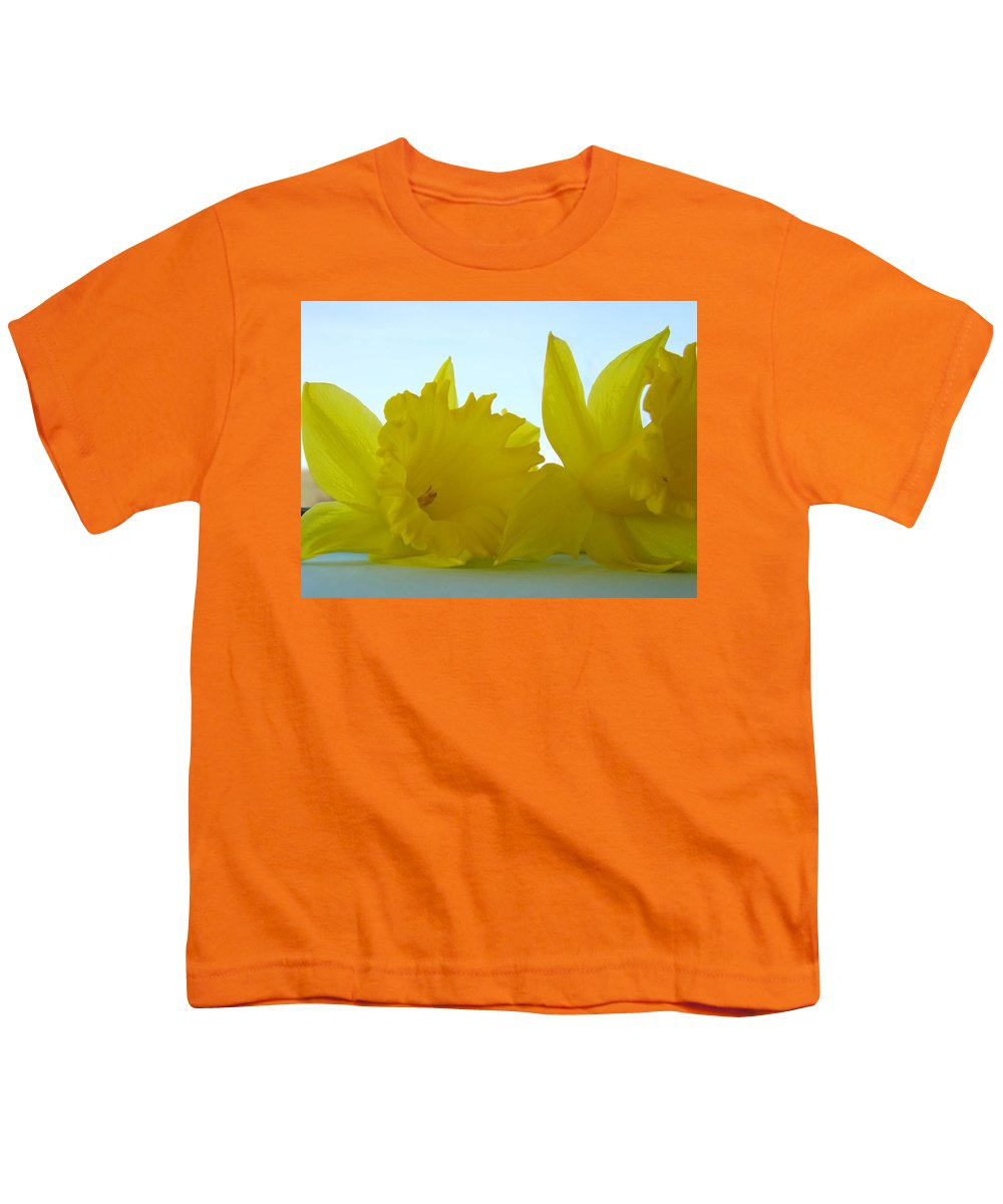 �daffodils Artwork� Youth T-Shirt featuring the photograph Spring Daffodils Flowers Art Prints Blue Skies by Baslee Troutman