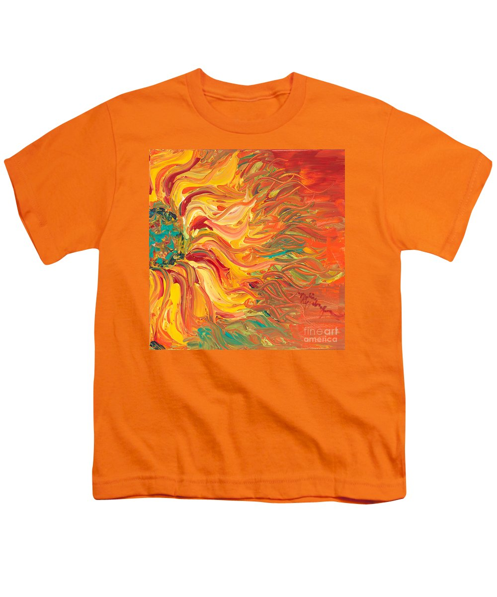 Sunjflower Youth T-Shirt featuring the painting Textured Fire Sunflower by Nadine Rippelmeyer