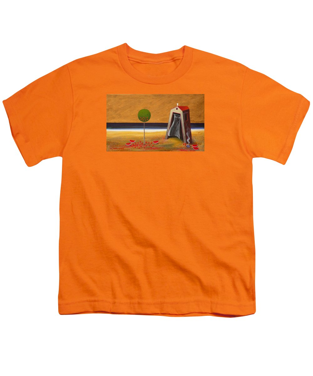 Astronomy Youth T-Shirt featuring the painting the Buff House by Dimitris Milionis