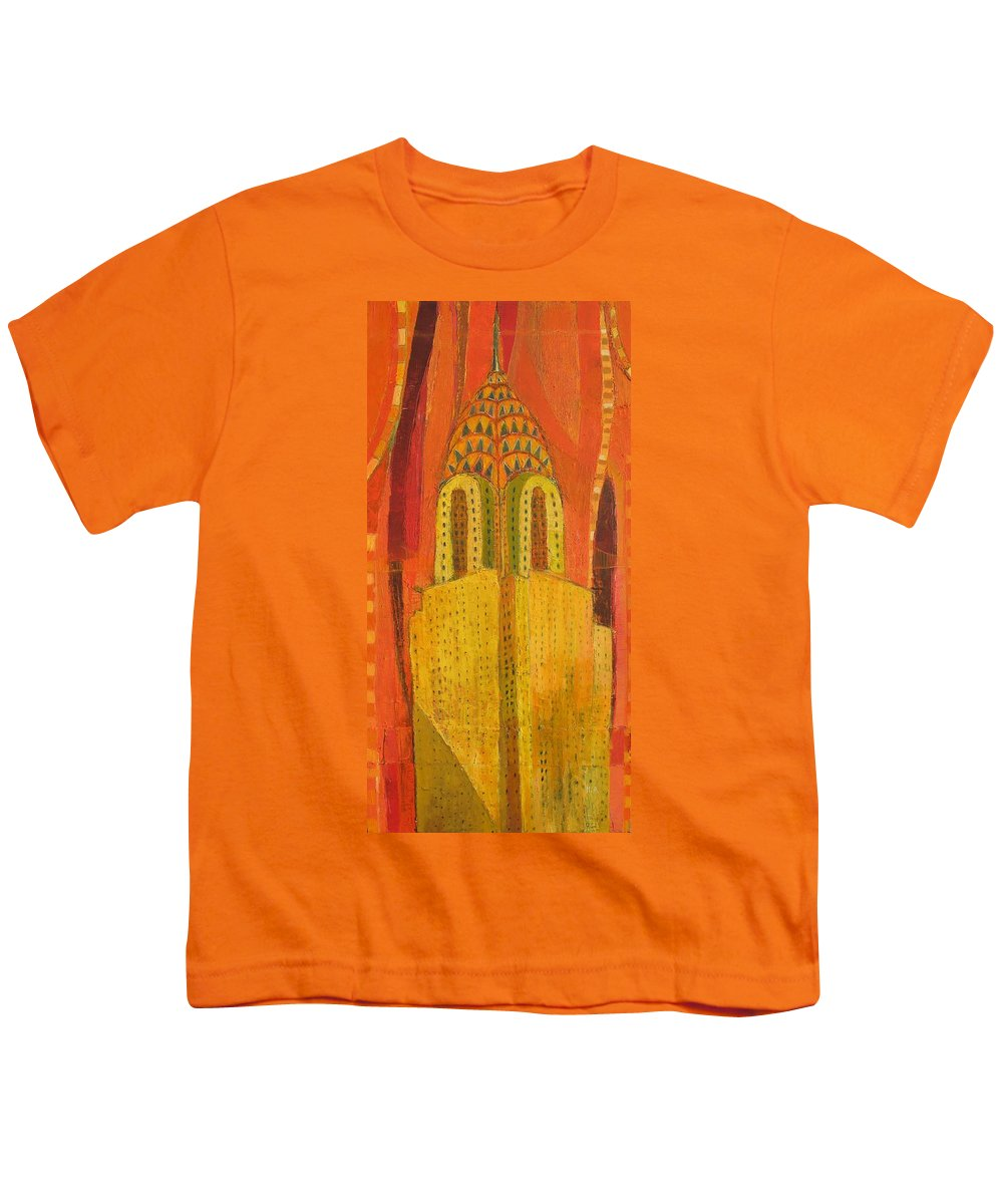 Abstract Cityscape Youth T-Shirt featuring the painting The Chrysler In Red by Habib Ayat