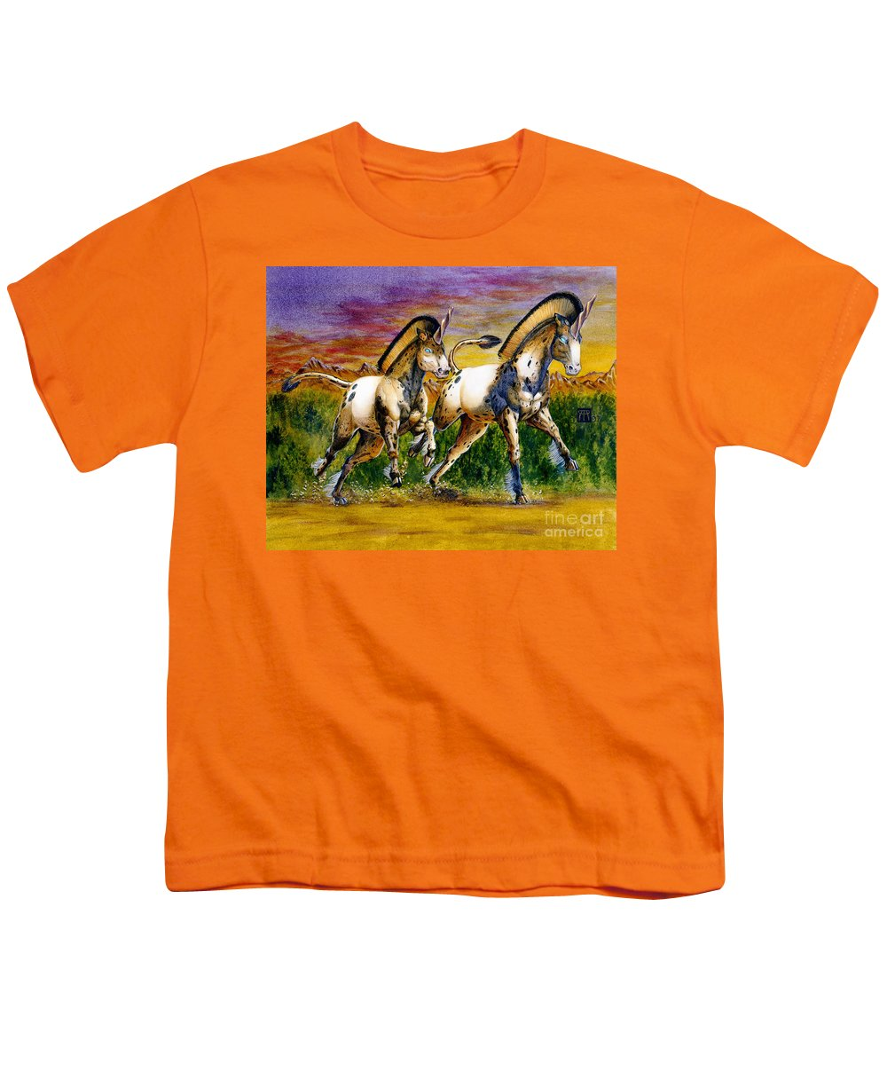 Artwork Youth T-Shirt featuring the painting Unicorns In Sunset by Melissa A Benson