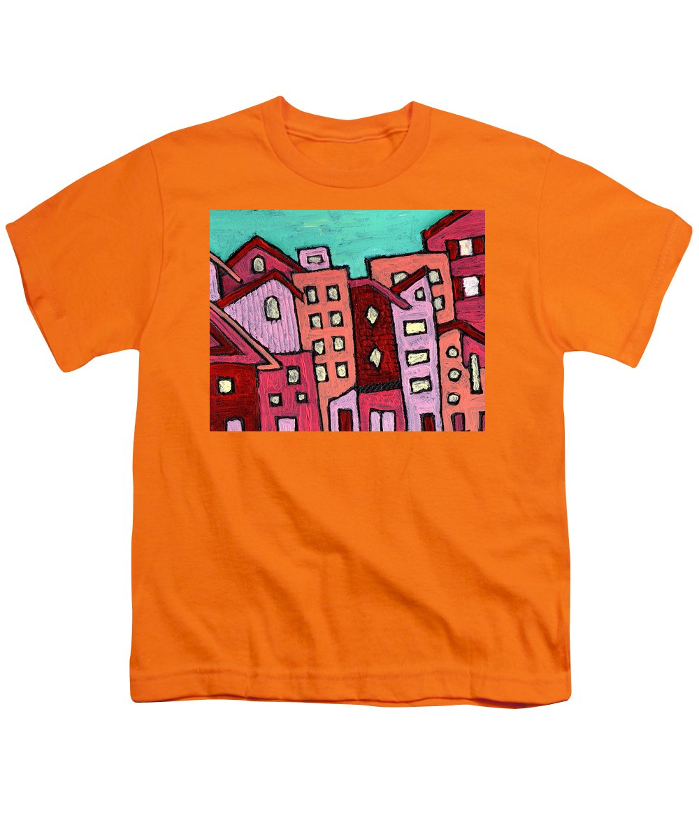 City Scene Youth T-Shirt featuring the painting Urban Heat by Wayne Potrafka