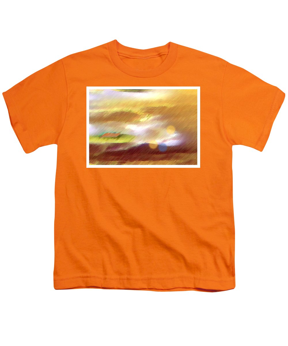 Landscape Youth T-Shirt featuring the painting Valleylights by Anil Nene