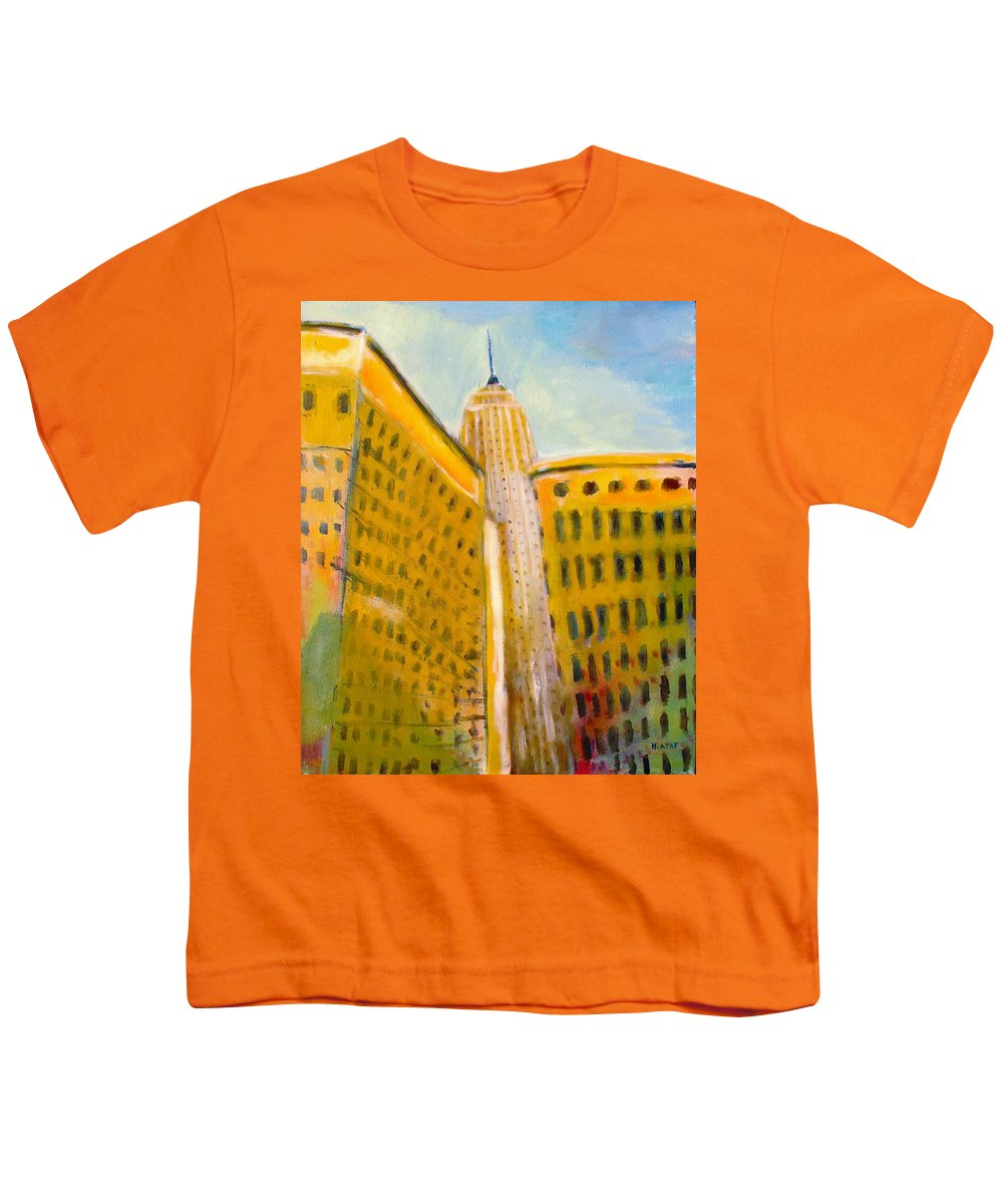 Abstract Cityscape Youth T-Shirt featuring the painting View From The 33 St by Habib Ayat