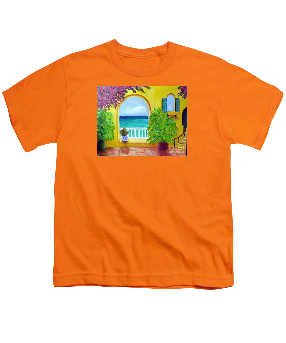 Patio Youth T-Shirt featuring the painting Vista Del Agua by Laurie Morgan