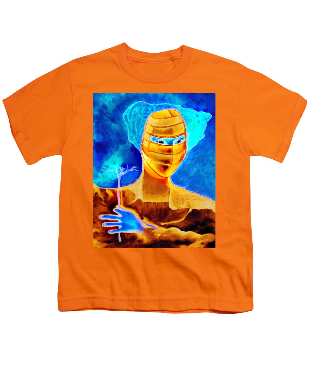 Blue Woman Mask Mistery Eyes Youth T-Shirt featuring the painting Woman In The Blue Mask by Veronica Jackson