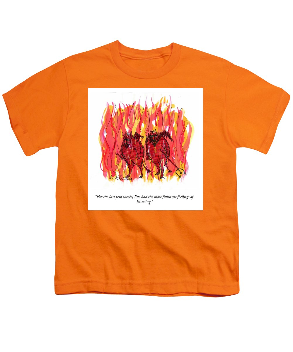 For The Last Few Weeks Youth T-Shirt featuring the drawing Feelings Of Ill Being by Mort Gerberg