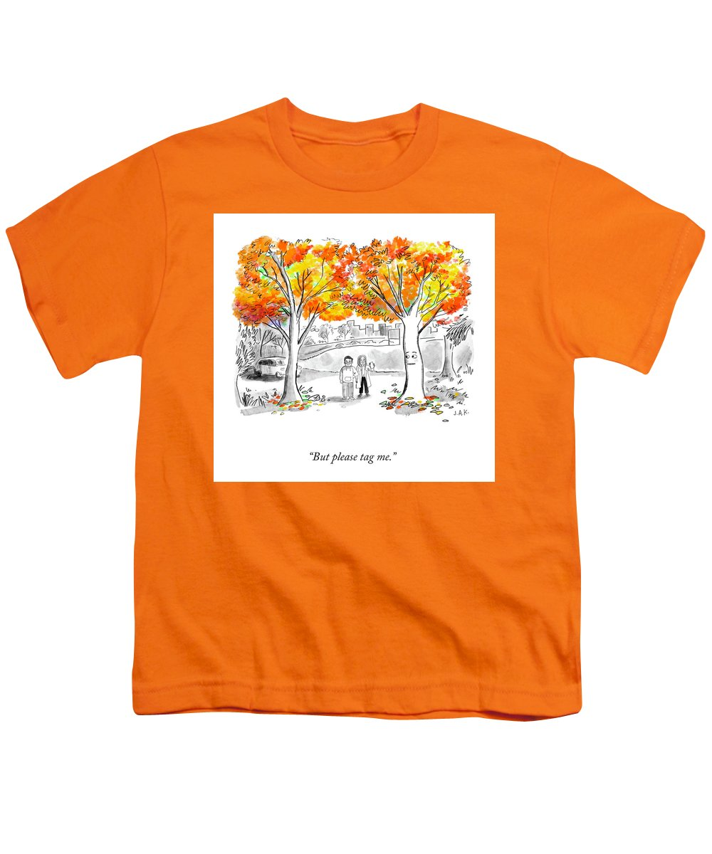 But Please Tag Me. Youth T-Shirt featuring the drawing Please Tag Me by Jason Adam Katzenstein