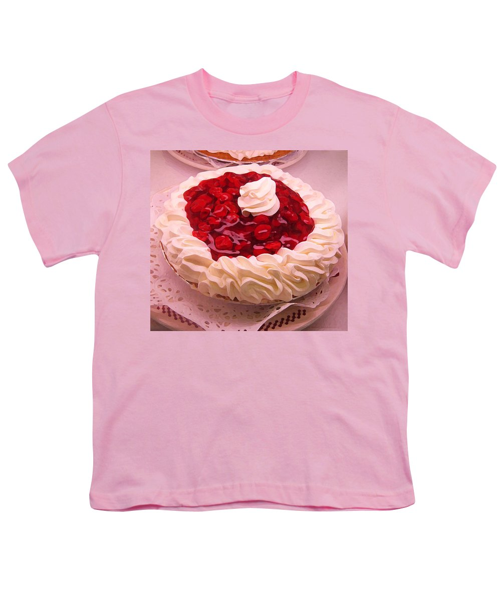 Still Life Youth T-Shirt featuring the painting Cherry Pie With Whip Cream by Amy Vangsgard