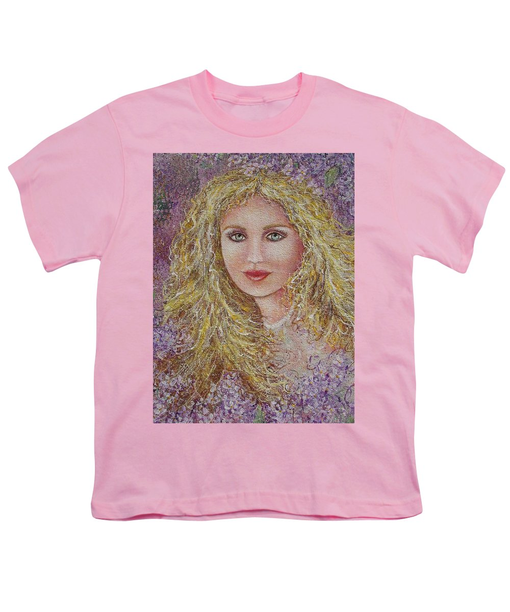 Portrait Youth T-Shirt featuring the painting Natalie In Lilacs by Natalie Holland