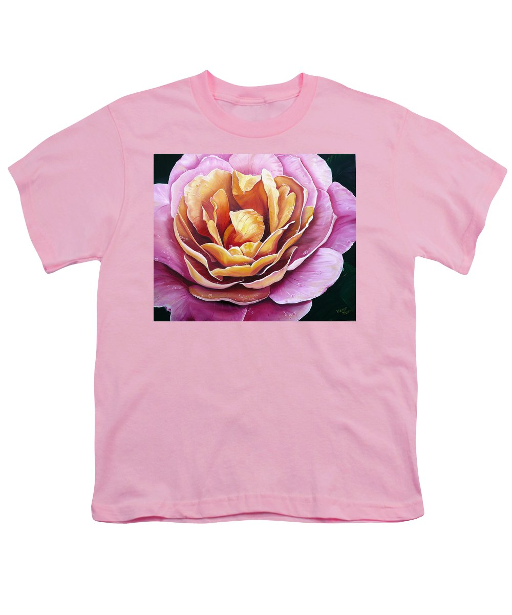 Rose Painting Pink Yellow Floral Painting Flower Bloom Botanical Painting Botanical Painting Youth T-Shirt featuring the painting Rosy Dew by Karin Dawn Kelshall- Best