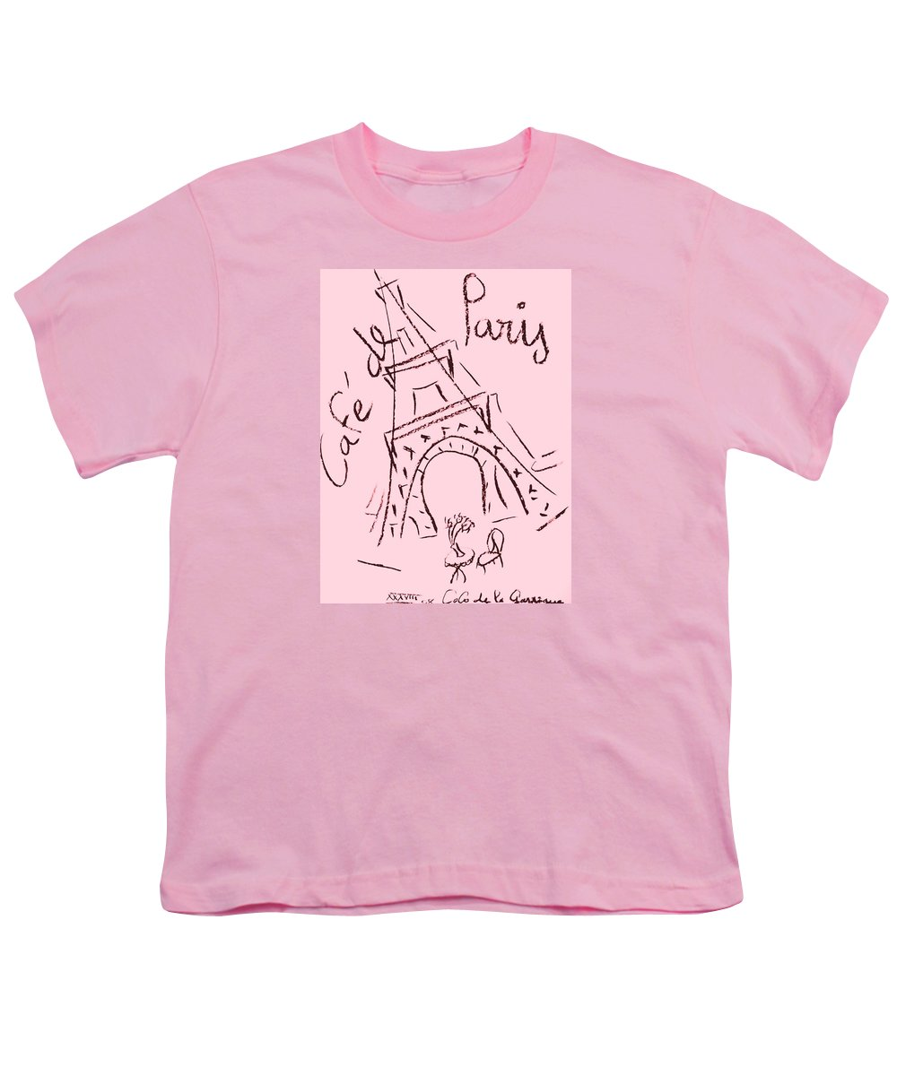 Eiffel Tower. Youth T-Shirt featuring the digital art Cafe De Paris by Coco de la Garrigue