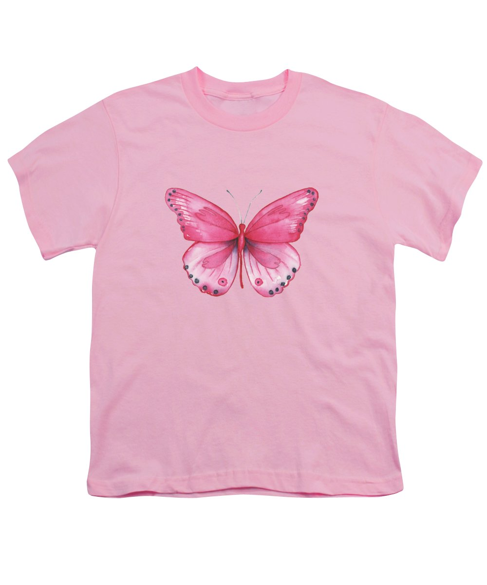 Pink Butterfly Youth T-Shirt featuring the painting 107 Pink Genus Butterfly by Amy Kirkpatrick