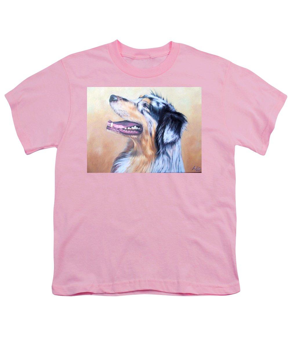 Dog Youth T-Shirt featuring the painting Australian Shepherd Dog by Nicole Zeug