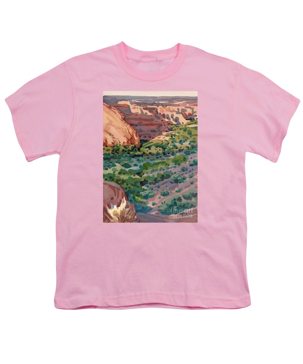Canyon De Chelly Youth T-Shirt featuring the painting Canyon Shadows by Donald Maier