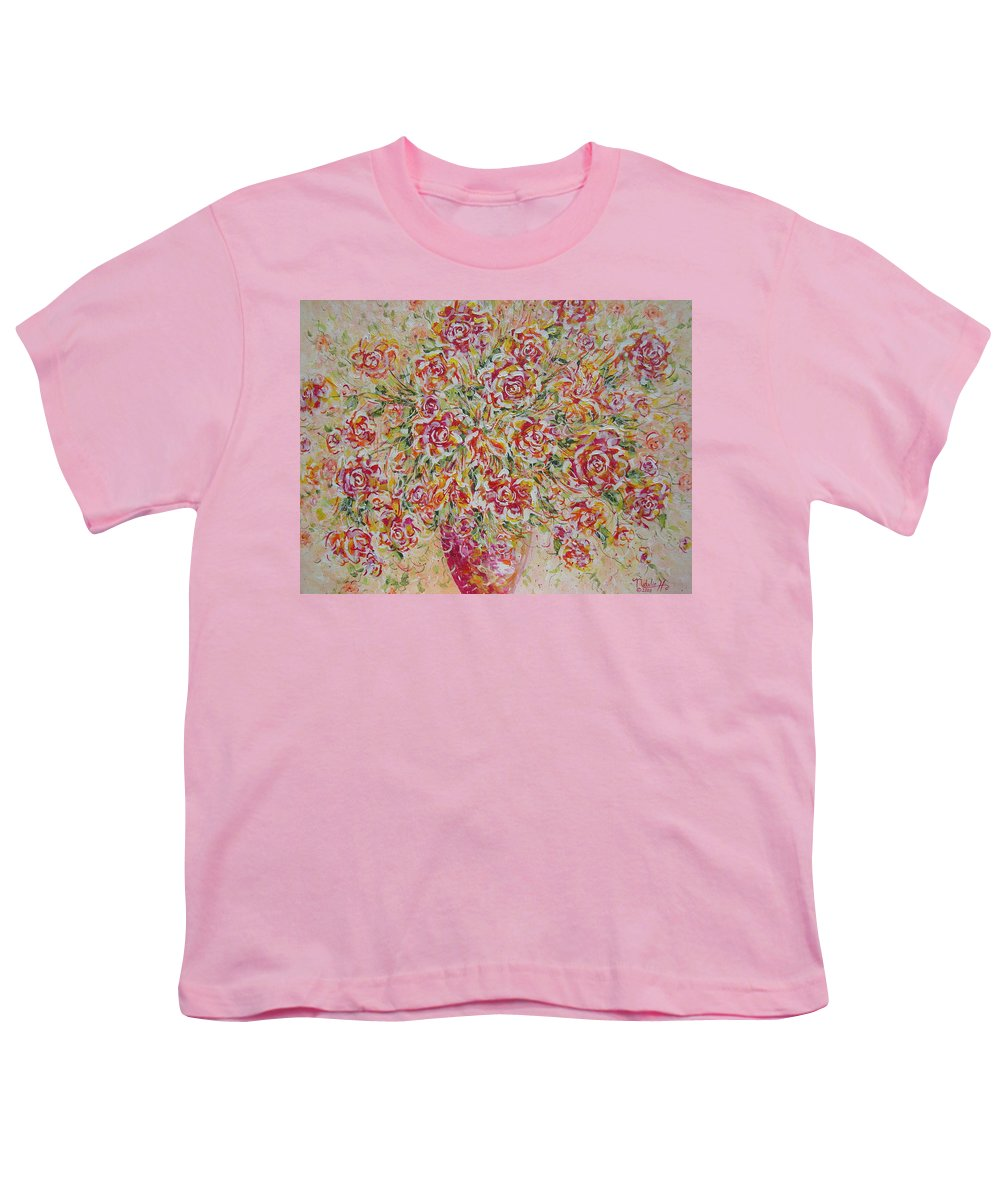 Flowers. Floral Youth T-Shirt featuring the painting First Love Flowers by Natalie Holland