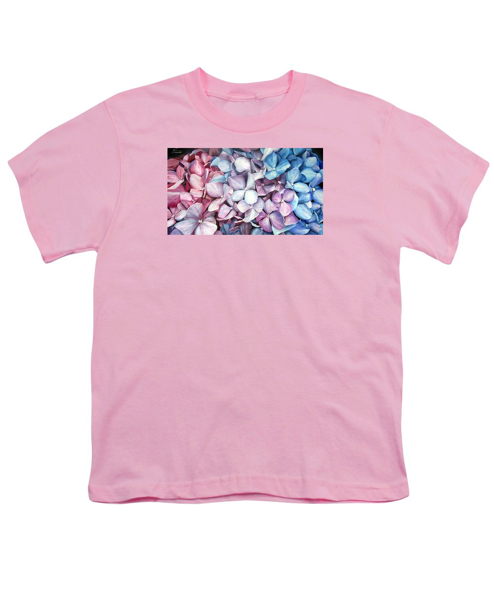 Flowers Nature Blue Violet Macro Youth T-Shirt featuring the painting Hortensias by Natalia Tejera