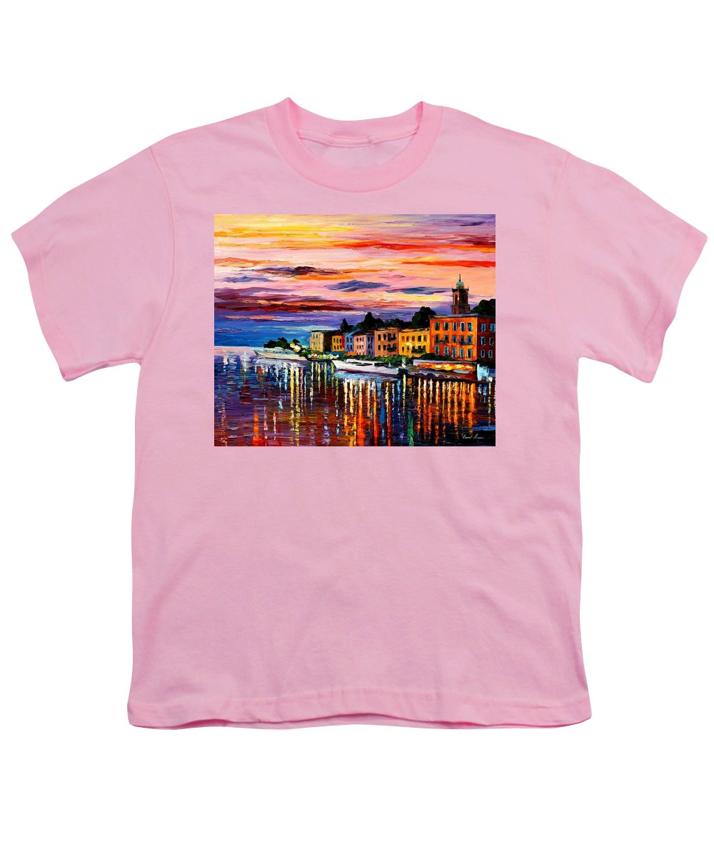 Cityscape Youth T-Shirt featuring the painting Lake Como - Bellagio by Leonid Afremov