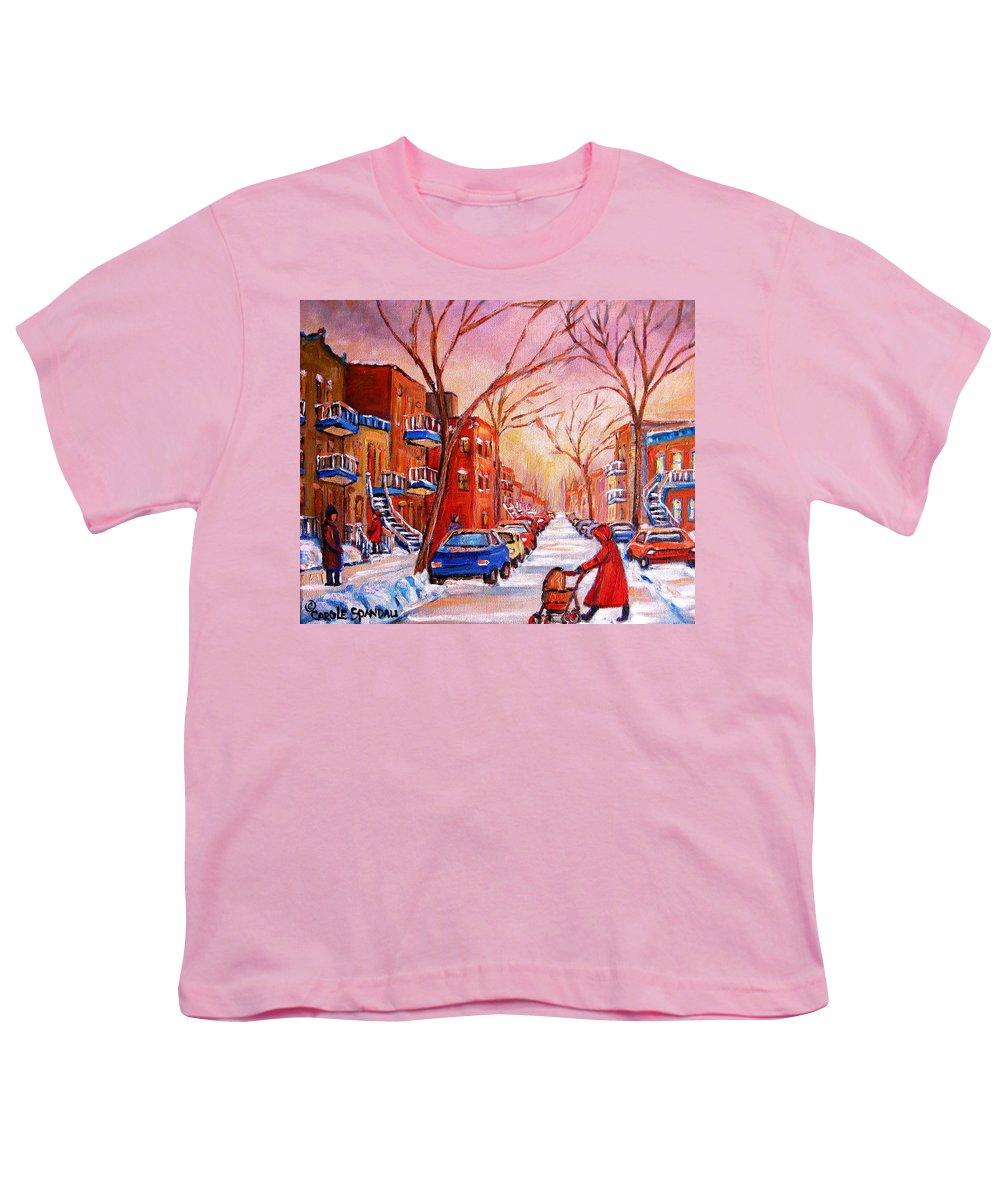 Montreal Youth T-Shirt featuring the painting Out For A Walk With Mom by Carole Spandau