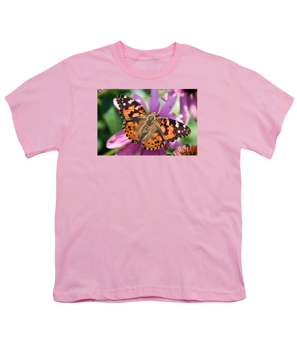 Painted Lady Youth T-Shirt featuring the photograph Painted Lady Butterfly by Margie Wildblood