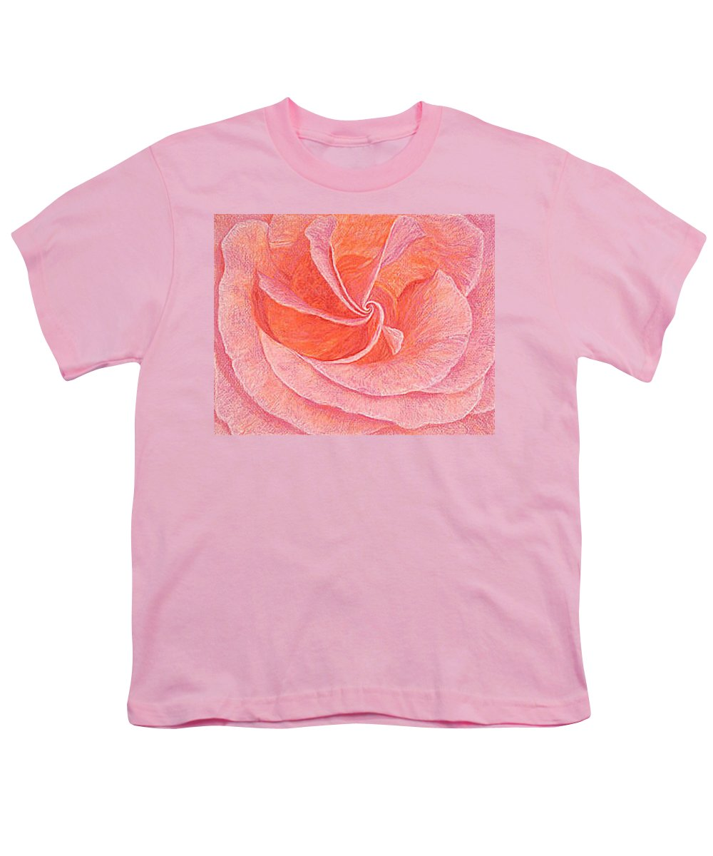 Art Print Prints Fine Giclee Canvas Framed Unframed Rose Pink Roses Garden Floral Flower Flowers Youth T-Shirt featuring the drawing Rose Sprial Pink Fine Art Print Giclee Garden Flower Floral Botanical Love Romance by Baslee Troutman