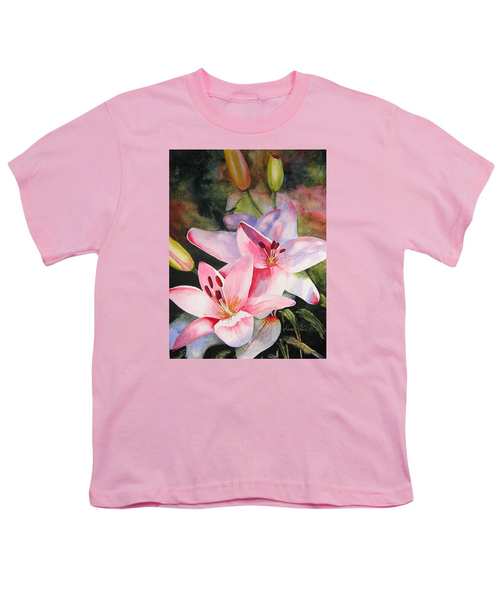 Lilies Youth T-Shirt featuring the painting Shady Ladies by Karen Stark