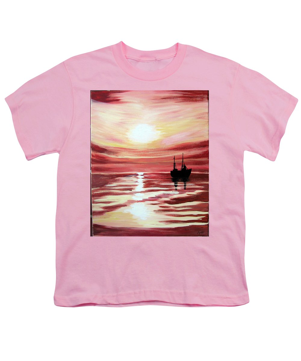 Seascape Youth T-Shirt featuring the painting Still Waters Run Deep by Marco Morales