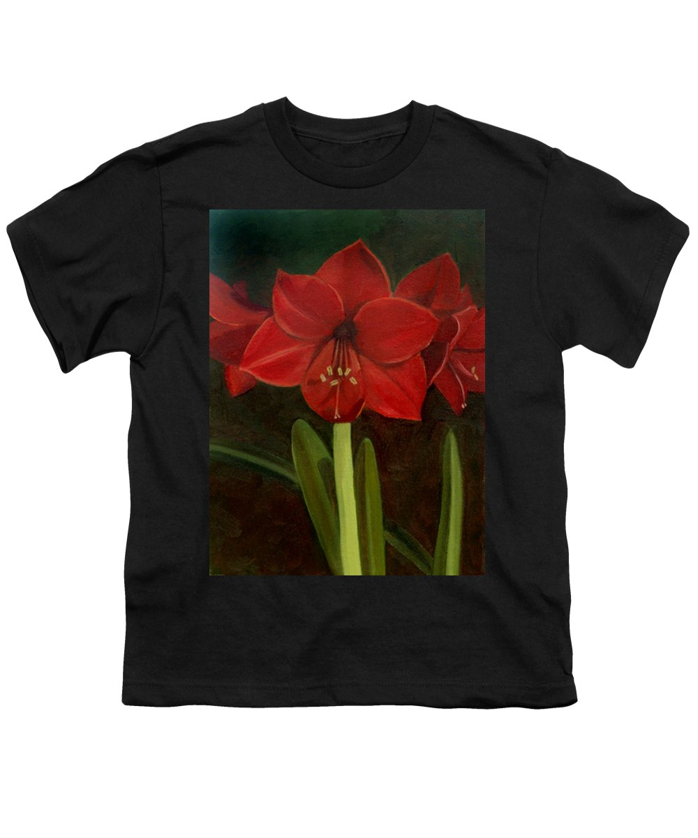 Amaryllis Youth T-Shirt featuring the painting Amaryllis by Nancy Griswold